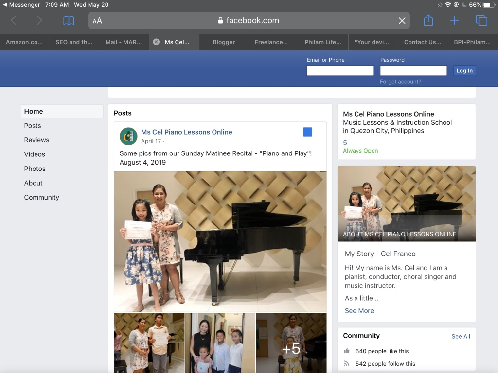 Teacher Cel's Facebook page for booking for piano lessons