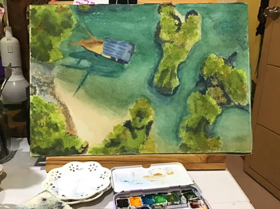 Pamunda Island in watercolor