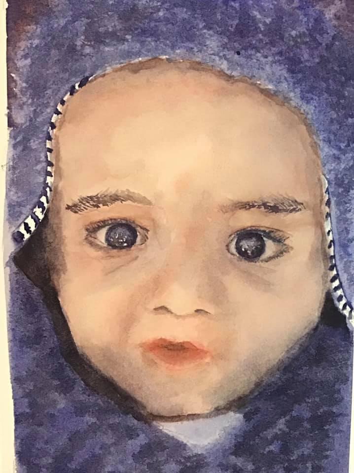 watercolor portrait of James, my nephew