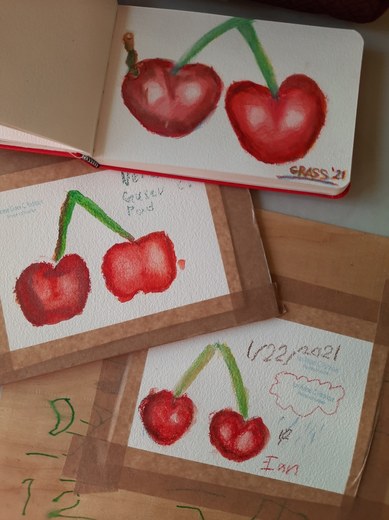 paintings of cherries in watercolor pencil by me and my kids