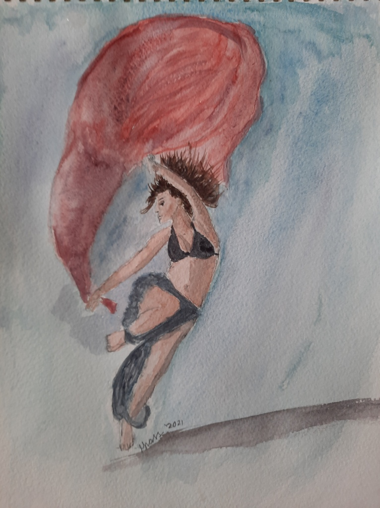 watercolor painting of my first bellydancer figure