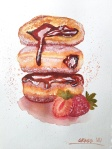 I painted donuts in watercolor